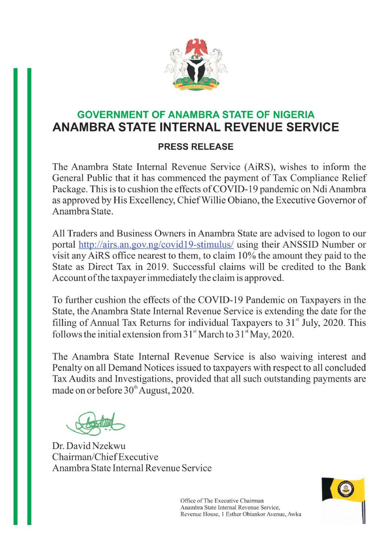 Anambra State Internal Revenue Service Press Release Anambra State Internal Revenue Service